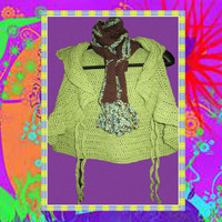 Apple Green Ruffled Bolero Vest With Hoodie AND by ArtisticFunk