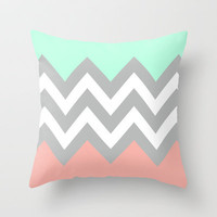 DOUBLE COLORBLOCK CHEVRON {MINT/CORAL/GRAY} Throw Pillow by nataliesales | Society6