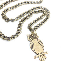 Long Brass Necklace, Antique Brass Owl Necklace, Large Owl Pendant, Gold Owl Necklace, Gold Animal Necklace, Long Chain Necklace