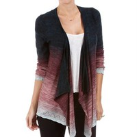 SALE-Black/Fuchsia Ombre Flyaway Sweater