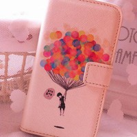 Up Balloon Synthetic Leather Case Flip Wallet for Iphone 5