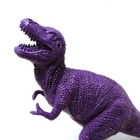 plastic dinosaur, violet, kids decor, upcycled toy, kitsch figurine, altered art, purple home decor, science, geekery, nerd, dinosaurs