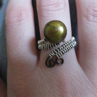 Green Pearl Wrap Ring by SpatzRosinOriginals on Etsy