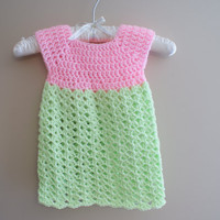 Crochet Baby Dress, Pink Infant Girl Clothes, Summer Baby Dress, Newborn Dress, Baby Girl Dress, Baby Girl Clothes, Green Easter Dress