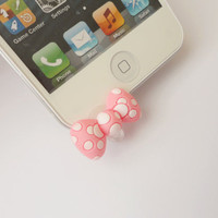 On Sale Hello Kitty Bow Iphone 5 -  Earphone Cap Anti Dust Plug IPhone dust plug - Cellphone Accessories
