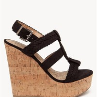 A'GACI Sotto Braided Faux Suede Cork Wedge - Shoes
