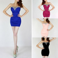 Vixen Boutique — Rhinestone Strapless Tube Bodycon Dress