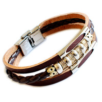bracelet gift leather bracelet man bracelet women bracelet Leather bracelet and ropes bracelet ,tibetan silver  01031257