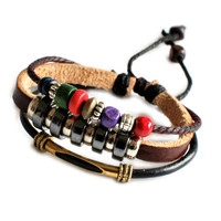 cuff wrist gift leather bracelet man bracelet women bracelet Leather bracelet and ropes bracelet ,tibetan silver  01025242