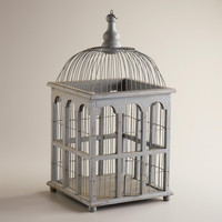 Gray Antique Birdcage Decor