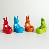 Kisii Soapstone Rabbit Tidbit Holders, Set of 4