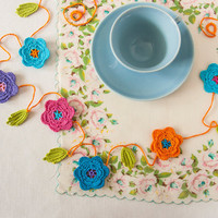 Party Decor Floral Crochet Garland