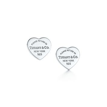 Tiffany & Co. -  Return to Tiffany™ mini heart tag earrings in sterling silver.