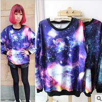  Galaxy Space Starry Print Long Sleeve Sweatshirt $24.33