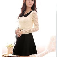 Black and white lace dress with cute collar