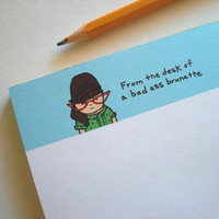 Funny Note Pad From the desk of a bad ass brunette by SimplyCutebyKarin on Etsy