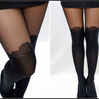 Sandysshop — Rose Detail Thigh-High Stockings/ Pantyhose/ Tights