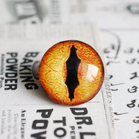 20mm handmade glass eye cabochon - orange reptile or dragon eye - Version II
