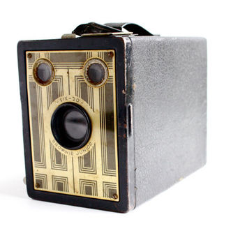 Vintage Kodak Brownie Junior Six 20 Camera - 1930s Art Deco 620 Film Black Box Camera / Rectangular Box