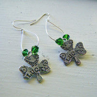 St. Patrick's Day Shamrock Hoop Earrings