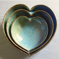 nesting heart bowls - blue green