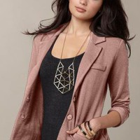 Brown French Terry Blazer with Rolled Up Sleeves & Pockets