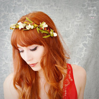 Flower headband, woodland crown, rustic head piece, hair accessory