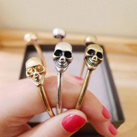 Instafashion —  InstaFashion Bracelet Skull Bangle Gold, Bronze & Silver