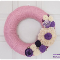 Spring Easter Wreath yarn pink purple lavender by OrnamentBoutique