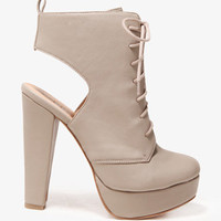 Cutout Heel Lace-Up Booties