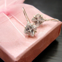 Clear Cubic zirconia big silver earrings MADE TO ORDER   by michli