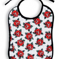 Roses Black & White Dot Bib