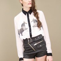 Sheer white horse print blouse with black collar cuffs, button placket | shopcuffs.com