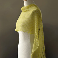 Knitted merino lace scarf stole wrap in lime spring bud green yellow colour