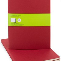 Red Moleskine Cahier Plain Pages (7.5&quot; x 10&quot;) -Set of 3