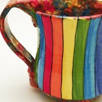 Ceramic Mug Rainbow Striped Roy G Biv 17 Ounces by JudyBFreeman