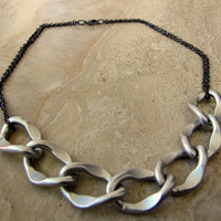 Chain Necklace - Silver and Gunmetal, Chunky Oversized Chain Links - Stellar Statement Necklace No. 3