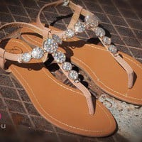 Rosette Xanthia-01 Be Jeweled T-Strap Flat Sandal (Camel) - Shoes 4 U Las Vegas