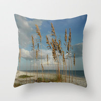 Sea Oats Seascape Throw Pillow by Rosie Brown | Society6