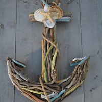 Driftwood Anchor with Seashells