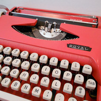 Vintage Cursive Typewriter Coral Red 1960&#x27;s Royal by ZealousStyle