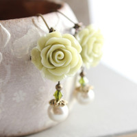Rose Earrings, Light Green, Pearl Drop, Floral Dangle, Pastel, Lime Green, Easter, Leverback, Nature Nickel Free, Bridal Wedding, Flower