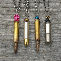 Choose One Of Your Choice, Bullet Casing Necklaces with Pink Skull Bead or Jeweled Beads by InkandRoses13