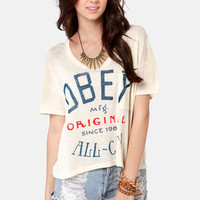 Obey All-City Cream Print Crop Top