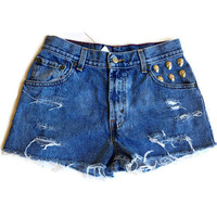 High Waisted Shorts Distressed Denim Jean Shorts Skull Studs Hipster Tumblr Grunge