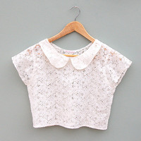Ivory Lace Peter Pan Collar Crop Top by Kee Boutique