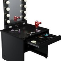 Amazon.com: Broadway Lighted Vanity Desk 36&#x27;&#x27; x 30&quot; - Black Frame, Black Surface: Home &amp; Kitchen