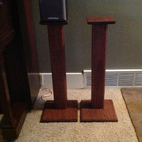 Rustic Red Oak Surround Sound Speaker Stands