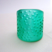 Emerald green cuff resin ring jewelry , spotted resin ring cuff ,  chunky broad resin ring