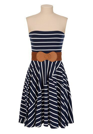 Belted Striped Tube Dress - maurices.com